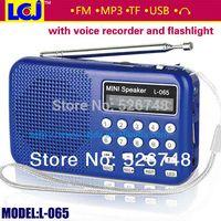 Portable libre del envío del precio de fábrica L-065 mini portable con la linterna del jugador de MP3 de FM radio FM y registrador de voz