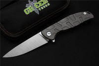 ball row - Shirogorov Green thorn S35vn blade F95 Flipper folding knife double row ceramic ball Titanium outdoor camping hunting knife tool