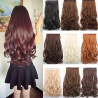 Wholesale 14 Colors g inch cm Synthetic Clip In Hair Extensions Curly Wavy Heat Resistant Hairpiece Natural Hair Extension W676L