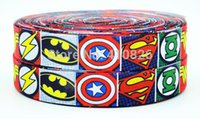Wholesale ribbon mm Super hero Cartoon logo printed grosgrain ribbon webbing bows accessory yds roll