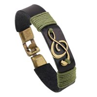 Wholesale Fashion Jewelry Musical Note Alloy Leather Bracelet Men Casual Vintage Woven Cuff Bangle Bracelets For Women YWSL006