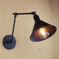 antique metal lamp shades - antique black reto industrial metal shade MINI wall lamp with long swing arm for workroom bedside bedroom illumination sconce