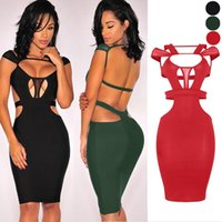 Wholesale Hollow Out women dress Solid Color Deep V Nightclub Sexy Gauze slim hip wrapped Buttocks Bandage Dress