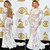 beyonce short dress - 2015 Lady prom dresses applique white lace evening dresses crochet beyonce mermaid See Through dresses Backless Evening Gowns
