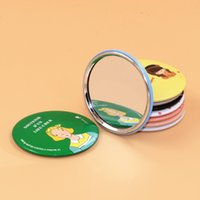 aluminum wedding gifts - Korea Cute mini Hand Mirror Aluminum Tin plate Cosmetic Compact Makeup Mirror Cartoon Romantic Childlike Wedding Gift DHL FREE