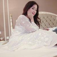 Cheap Wholesale-Free Shipping Women's White long Nightgown Flower Satin Slip Sleepwear Princess Nightdress Two Pieces Set