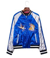 baseball eagles - Satin embroidery bomber jacket women Black blue tiger eagle souvenir jacket coat Casaul baseball jacket sukajan riversible outwear
