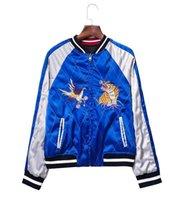 Wholesale Satin embroidery bomber jacket women Black blue tiger eagle souvenir jacket coat Casaul baseball jacket sukajan riversible outwear