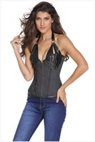 neck corset leather - 2016 Spring Fashion Women Floral Denim Bust Support Steel Bone Steampunk Leather Corset with Thong