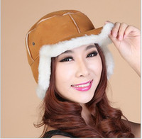 Wholesale Sheepskin wool one winter warm hats unisex fashion Leather hats Trapper hats cm height factory first hand prices