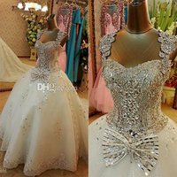 Wholesale Amazing Luxury Swarovski Crystal Wedding Gowns Ball Gown Sweetheart White Organza Appliques Sashes Beads Lace up Bridal Gown