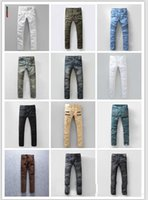 Wholesale BALMAIN jeans for men hot mens designer jeans famous brand balmai jeans men distressed jeans ripped denim balman Robin Jeans styles