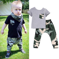 active tshirt - 2016 hot sale Baby Boys suits summer style Kids tshirt Long active Pants Camouflage boy girl Outfits Clothes BDU battle fatigues Sets