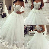 Wholesale 2016 Sweetheart Country Wedding Dresses Sleeveless Lace Appliques Illusion Bodice Sexy Low Back with Beaded Court Train Bridal Gowns