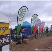 Wholesale Double Side Outdoor Advertising Flags x155cm Teardrop Beach Flags Banners with Cross Feet Water Bag Flying Banner POS