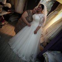 Wholesale Vintage Long Sleeve Lace Plus Size Wedding Dress Weeding Turkey Weding Bridal Bride Wedding Gowns robe de mariage mariee