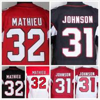Wholesale Mens Tyrann Mathieu Jersey David Johnson Jersey Elite Stitched Football Jerseys Red Black White Size S XL