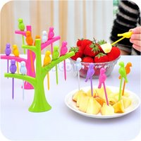 Wholesale Party Home Decor Bird Fruit Snack Dessert Forks Tool Tree Shape Holder Rack New