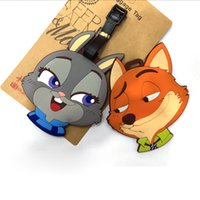 Wholesale Prettybaby zootopia figure Luggages hangtag Cartoon PVC handbag tag animal Nick quick indentification baggage tags Pt0416
