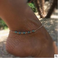 Wholesale 500pcs LJJC4341 High Quality Simple Unique Turquoise Beads Sexy Silver Chain Anklet Ankle Bracelet Foot Women Jewelry Turquoise Beads Anklet