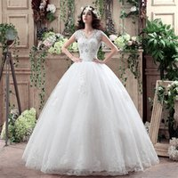 beautiful chinese models - V Neck Sleeveless Light Ivory Appliques Lace Ball Gown Long Beautiful Cheap Handmade Chinese Bride Wedding Dresses