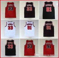 Wholesale Scottie Pippen Jersey Dennis Rodman Throwback Retro Basketball Jerseys White Red Black Stripes S XXL Available