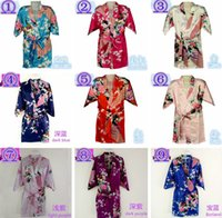 Wholesale 10 Colors Sizes Kids Girls Robe Satin Small Children Kimono Robes Bridesmaid Gift Flower Girls Dresses Silk Bathrobe Nightgown Kimono