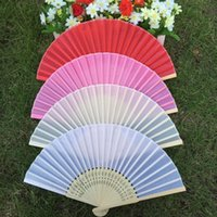 Wholesale Colorful Folding Silk Hand Fan with Organza Gift bag Wedding fan gift favor