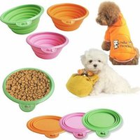 Wholesale 1pcs Foldable Portable Dog Bowl Cute Portable Silicone Collapsible Folding Pet Bowl Travel Cat Pet Bowl Feeding Water Food