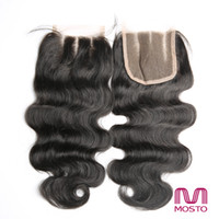 Wholesale 7A Lace Closure Brazilian Body Wave Middle free three way Part x4 Brazilian Peruvian Hair Natural color Human Hair Closure
