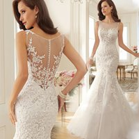 Wholesale Europe bride fishtail trailing lace wedding dress sexy halter perspective spring new