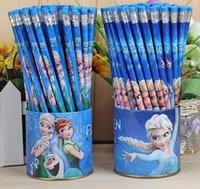 Wholesale 72pieces wooden HB pencils with eraser Frozen pencil stationary Rlapices Zpencils Elapiz Lapices Painted Elsa Pencils cupboards