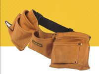 belt manufacture - China manufacture full grain leather tool bag tool belt with many pockets