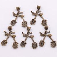 antique cart - Hot x33 mm Antique Bronze Love Heart Shopping Cart Big Hole Beads Fit European Charm Bracelets Jewelry DIY B267