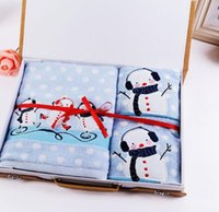 bath set packed - 3pcs Towel set Cartoon snowman towel festival Wedding Birthday gift set towels bath face hand towel set inculding packing box