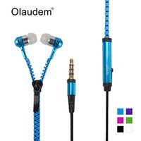 Wholesale Metal Zipper Stereo Bass In Ear mm Wired Earphone With Microphone For Mobile Phone MP3 EP