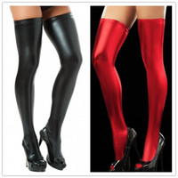 latex stockings - Sexy Vinyl Thigh Highs Socks For Women Leather Elastic Stockings Latex PU Stocking Lingerie Colors