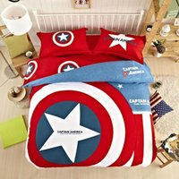 Wholesale 2016 Brand New Captain America Minions red Bedding set Cotton King Queen Twin size Kids Cartoon Duvet Cover Set Bedset bed sheet
