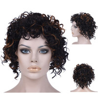 afro curl wig - Cheap Afro Kinky Curly Synthetic Wig African American Short Wigs For Black Women mixed black brown u part Curl Female Wig