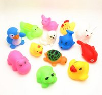 animal sounds pig - Lovely paragraph Mixed Animals Colorful Soft Rubber Float Squeeze Sound Squeaky Bathing Toy For Baby