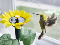 Wholesale 2016 New Solar Power Funny Toys Gadgets Sunflower Fly Hummingbirds Courtyard Garden Pots Kits For Kids