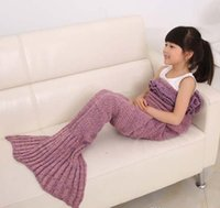 Wholesale 20pcs Colors Mermaid Fish Tail Blanket Knitted Handmade Children Girls Sleeping Swaddle Air Conditioning Blankets