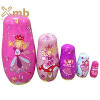 babushka fashion - 5pcs Set Wooden Angel Fairy Russian Babushka Matryoshka Nesting Dolls Home Decor Christmas Gift