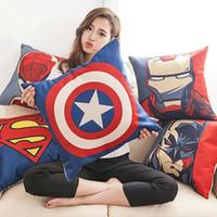 batman pillow case - Superhero Pillow Case Cartoon Pillow Case Superman Batman Captain America Cushion Cover Cotton Linen Pillow Cover Home Textiles Xmas Gift