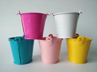 Wholesale Mixed colors small easter egg pots cheap tin pails mini pails mini bucket candy pail package for decoration