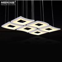 art deco windows - Modern LED Chandelier Light Fixture White Acrylic Hanging Lamp Lustre LED Windows shape Drop Light for Living room Dining room