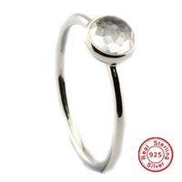 Wholesale 2016 April Droplet Rock Crystal Sterling Silver Bead Fit Pandora Ring Fashion Jewelry DIY Charm Brand