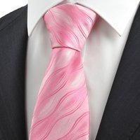Corbatas Corbata de los hombres corbata Corbata rosada del lazo de la onda de la onda rosada para los hombres Corbata del juego para el regalo de vacaciones formal del boda del negocio KT0086