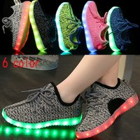 Wholesale LED Shoes Boys Girls Coconut Fluorescence Shoes Kids Children Casual Breathable Soft Soled Running Shoes Halloween XMAS Gifts WX C02