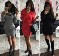 Wholesale In Europe and the United States summer fall pure color set of head waist long sleeved double hooded fleece dress Three color five yards